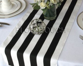 White and Black Stripe Table Runner Wedding Table by floratouch