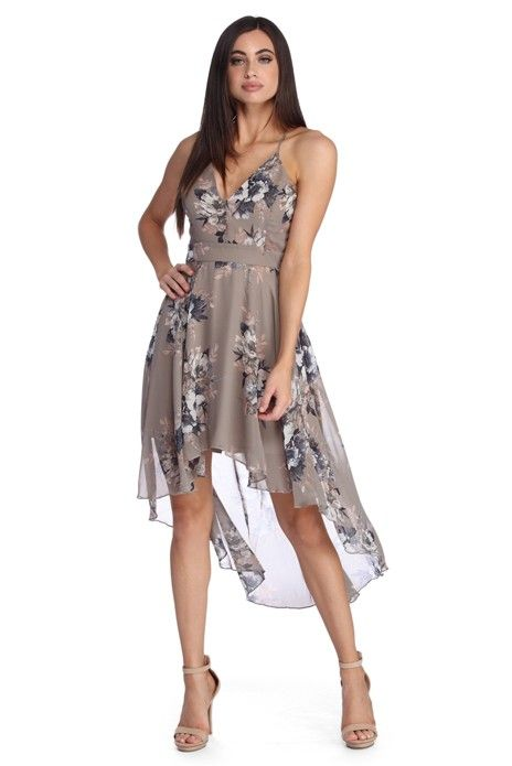 This taupe floral skater dress features a deep V neckline 34e19974d