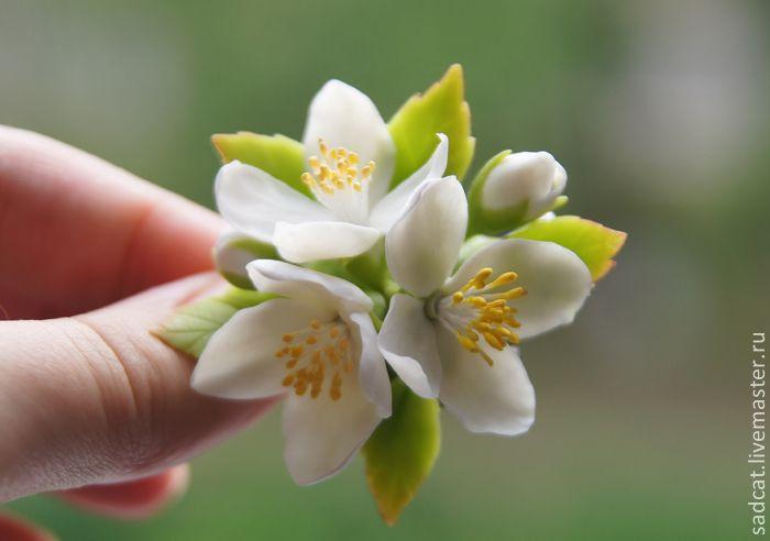 Купить Заколка (брошь) с цветами жасмина - белый, жасмин, цветы в прическу, цветы в волосы