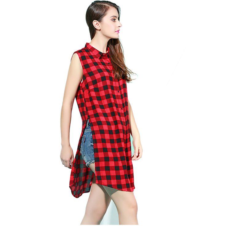 947,29 руб Женщины красный черный плед с отложным воротником рукавов летняя рубашка блузка сплит свободного покроя мода Высокое качество 100% хлопок Большой размер купить на AliExpress