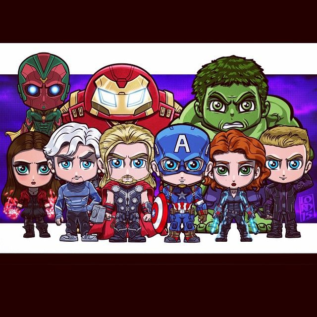 Vision, Iron Man(Hulkbuster Armor), Hulk, Scarlet Witch, Quicksilver, Thor, Captain America, Black Widow, Hawkeye