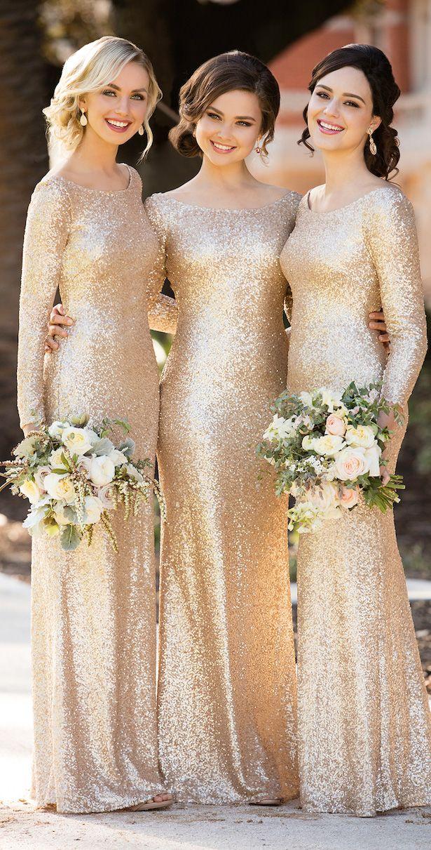 Floor Length Sequin Bridesmaid Dresses with Long Sleeves by Sorella Vita