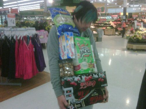 Josh, a cart, maybe? Haha you with your addiction to coke zero... ;) it's amazing how much the man can drink. O_o