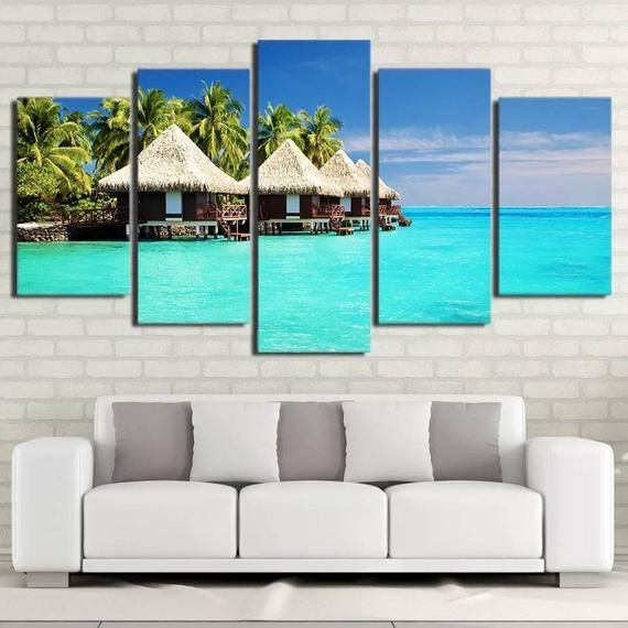 Beach Wall Art Relaxing Wall Decor Blue Waters Canvas Art Etsy Beach Wall Art Palm Trees Painting 5 Piece Canvas Art