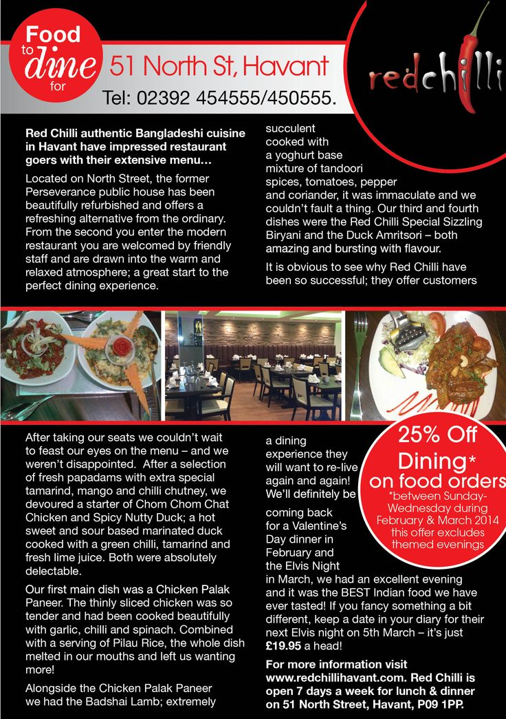 Red Chilli authentic Bangladeshi cuisine in Havant have impressed restaurant goers with their extensive menu… #local #restaurant #food #review #Havant #Hampshire