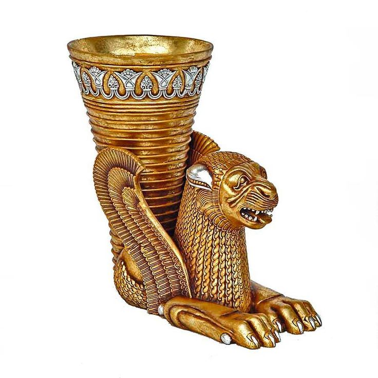 Rhyton cat | Design Toscano Ancient Persian Winged Lion Rhyton Vessel Urn