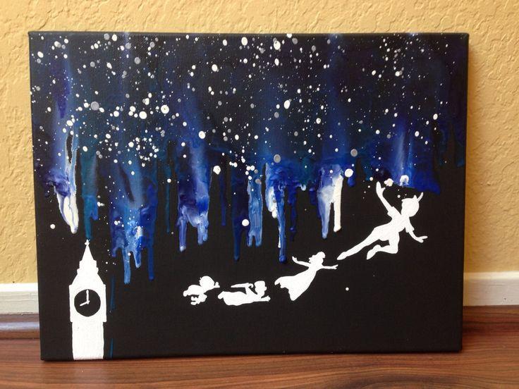 """Disney's """"Peter Pan"""" melted crayon art"""