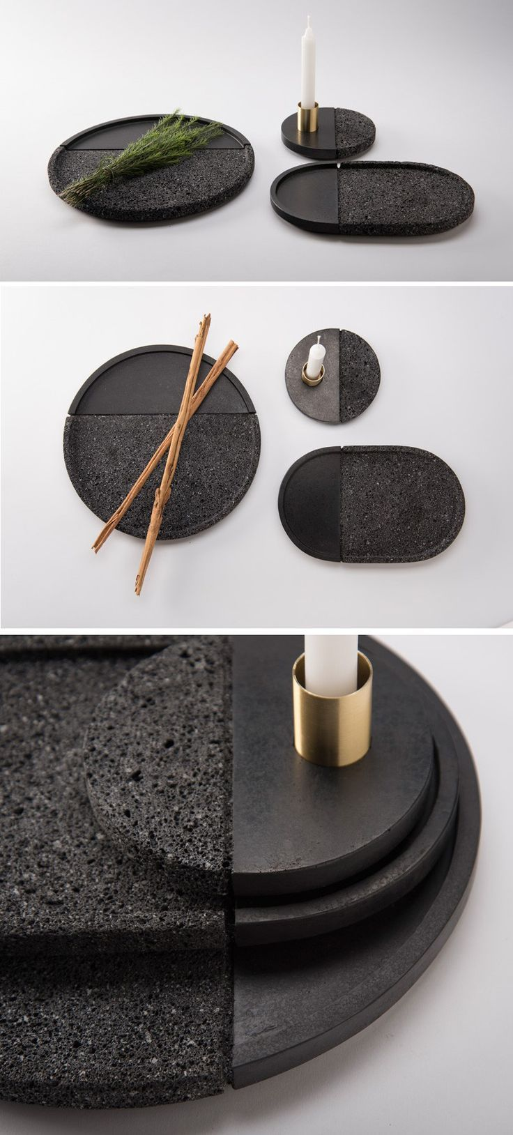 PECA have designed LAVA, a set of decorative plates carved from volcanic stone with a brass accent.