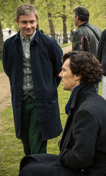 Martin Freeman and Benedict Cumberbatch behind the scenes of #Sherlock series 3 episode 2: The Sign of Three