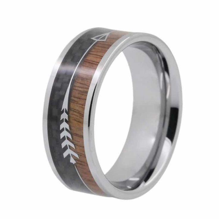 Modern mens wedding ring