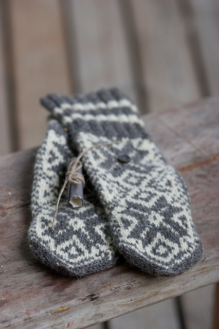 These are wool mitten pattern that mother used to make my brother and I when we were young.