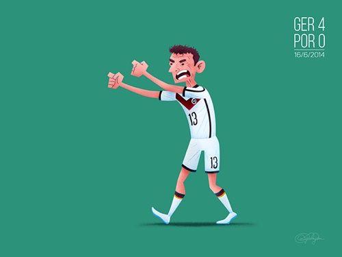 3. Los tres goles del delantero alemán Thomas Muller frente a la selección de Portugal, cuyo marcador final fue 4-0.