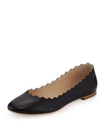 Scalloped Calfskin Ballerina Flat, Black by Chloe at Neiman Marcus.