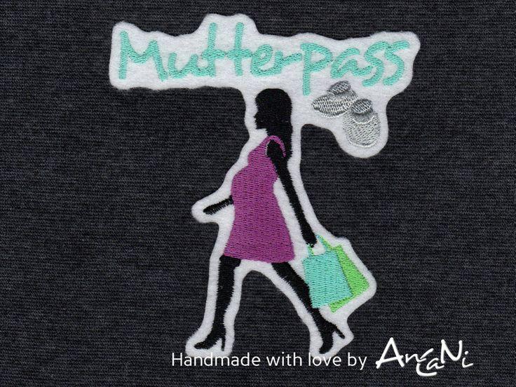 Mutterpasshüllen - Aufnäher Mutterpass ♥ Applikation schwangere Frau - ein Designerstück von AnCaNi bei DaWanda