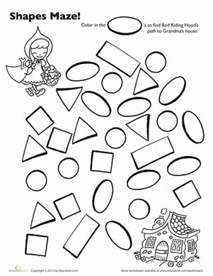 Preschool Mazes Shapes Worksheets: Red Riding Hood Shape Maze