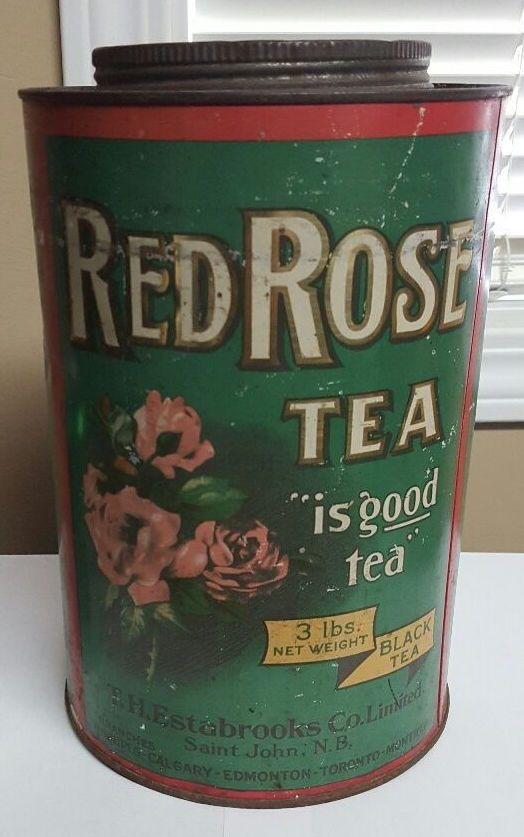 Red Rose Tea vintage tin