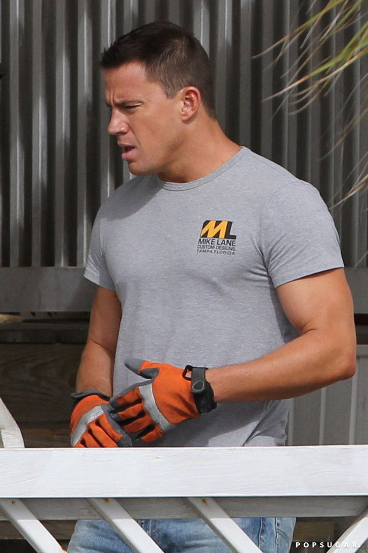 Pin for Later: #TBT to Magic Mike XXL's Sexy Behind-the-Scenes Pictures  We assume that Savannah is standing in for Tampa, FL, as Mike Lane's t-shirt notes.