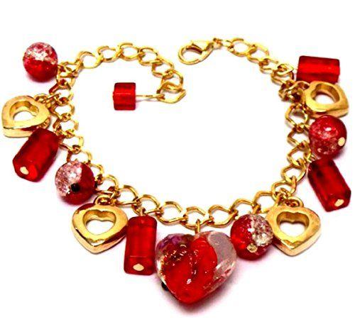 Red Heart Beads Charm Bracelet D5 Murano Glass Larger Wri... www.amazon.com/...