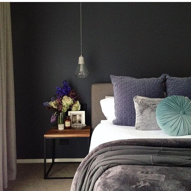 Dark & cozy bedroom. Colour: Viking Grey : @this.home.of.mine #taubmans #taubmanscolour . . . . . . #paint #wallcolours #wallcolour #interiordesign #homewares #bedroom #cozy #interiors #styling #winter #wintersnight