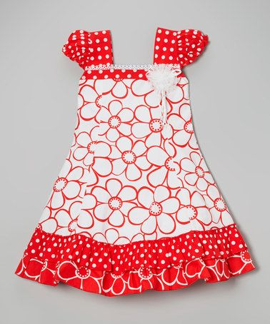 Love this Red & White Polka Dot Floral Cap-Sleeve Dress - Toddler & Girls on #zulily! #zulilyfinds