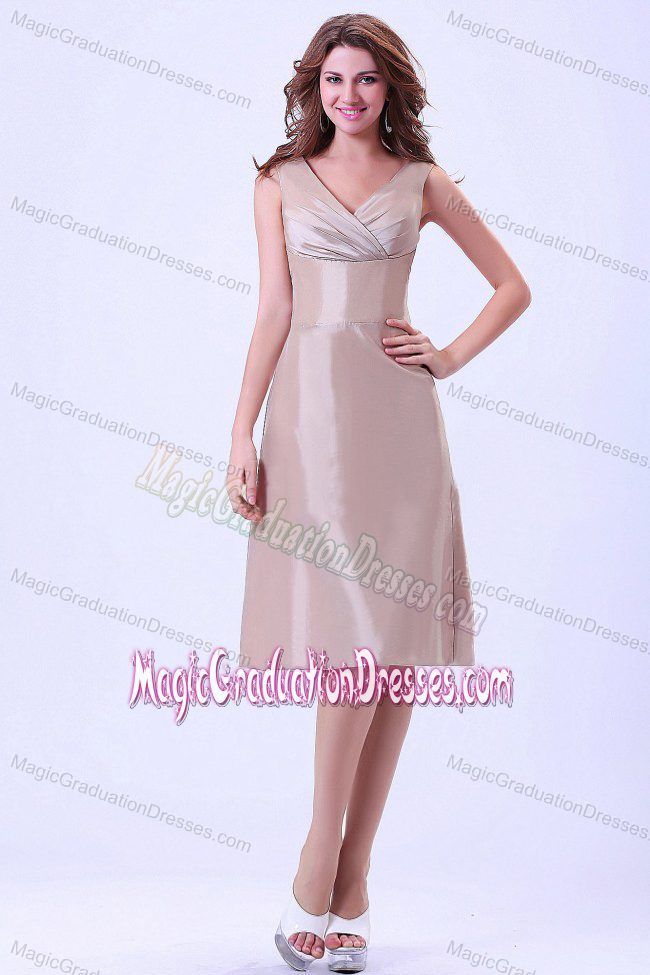 Champagne V-neck Graduation Dresses for Middle School in Knee-length in Idaho