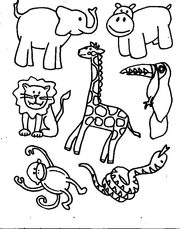 simple jungle animal coloring pages - photo#4