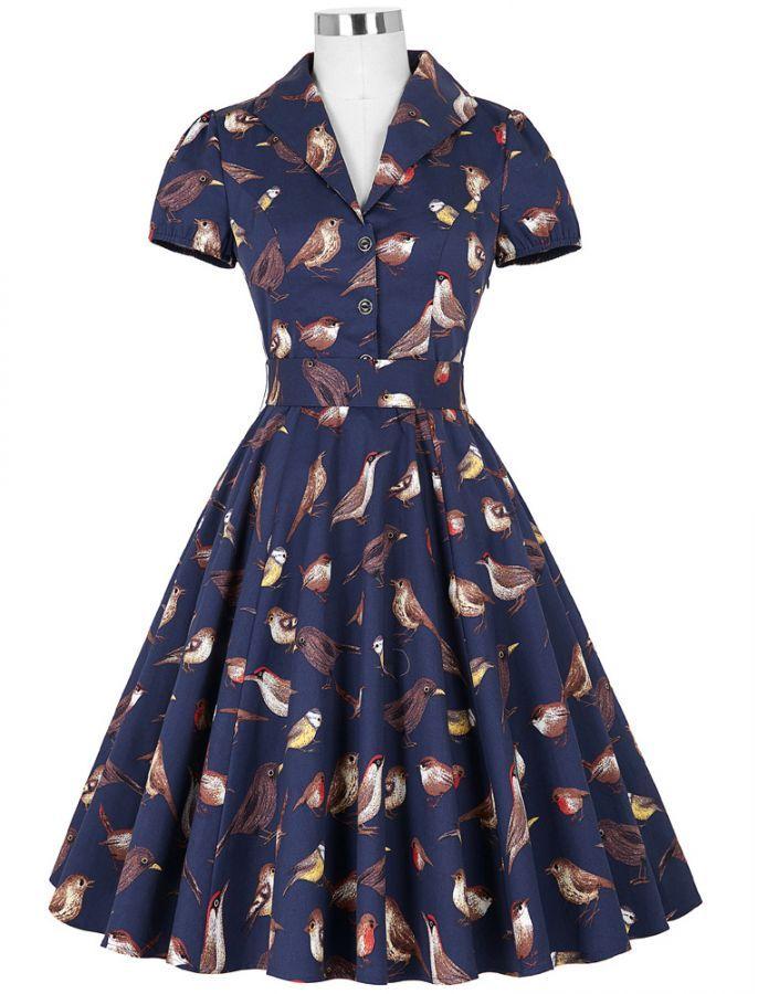 1950s Fashion Vintage Style Free As A Bird Print Retro Dress