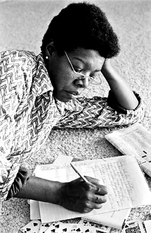 Maya Angelou reads and writes.