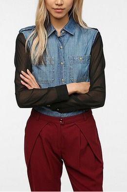 Şifon kollu kot gömlek - BDG | Hipnottis  Daha fazlası  http://www.hipnottis.com/tasarim-gomlek/bdg-sifon-kollu-kot-gomlek