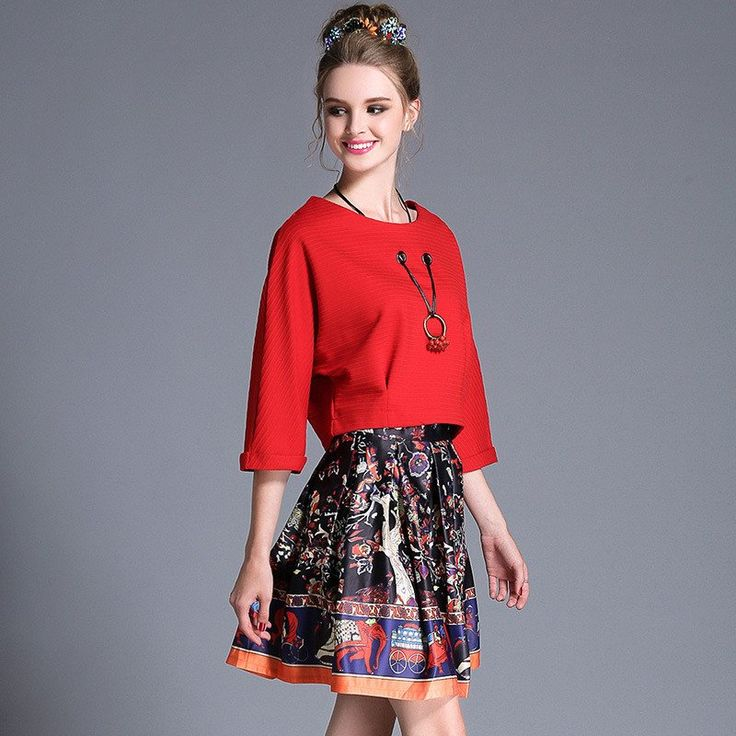 Women Elegant Style Autumn Two Piece Dress Red Crop Top And Printed Skirt Set Plus Size Women Clothing l-4xl