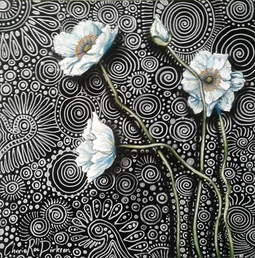 Buy FREE COURIER - 'WHITE POPPIES 2' - Original Painting on Boxed Canvas by SA artist --- 510 x 510 x 40for R3,200.00