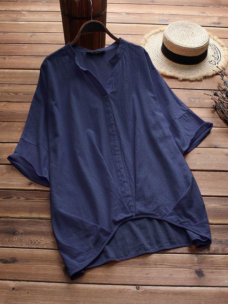 Plus Size Cotton Solid Color V-Neck Irregular Hem Blouse at Banggood 2