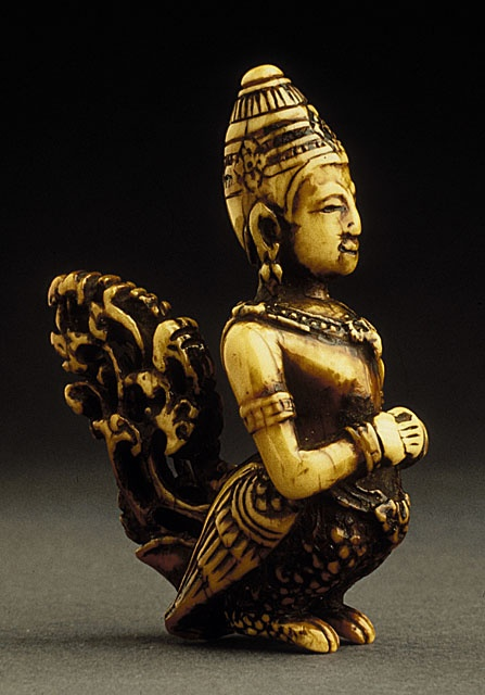 Japan  Heavenly Spirit: Karyobinga, 18th century  Netsuke, Ivory with dark staining, sumi. LACMA