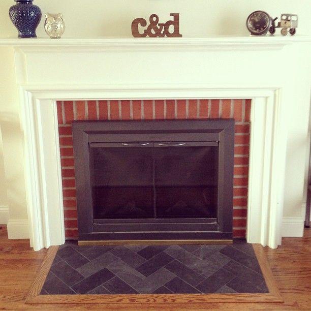 Slate Herringbone Fireplace Hearth   Love The Herringbone As The Seating  Area