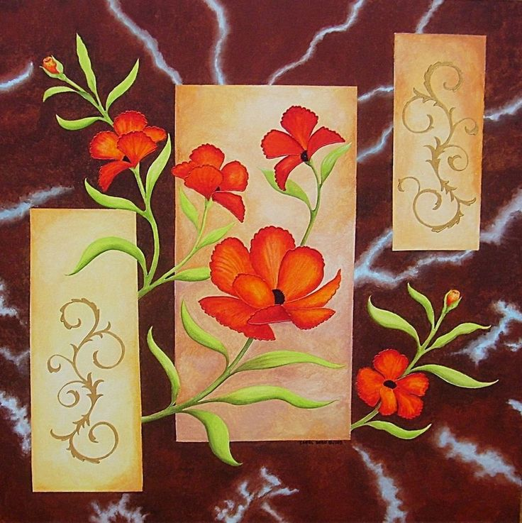 Electric Red Poppies-Original painting by the artist, large, art deco,now,floral #ArtDeco