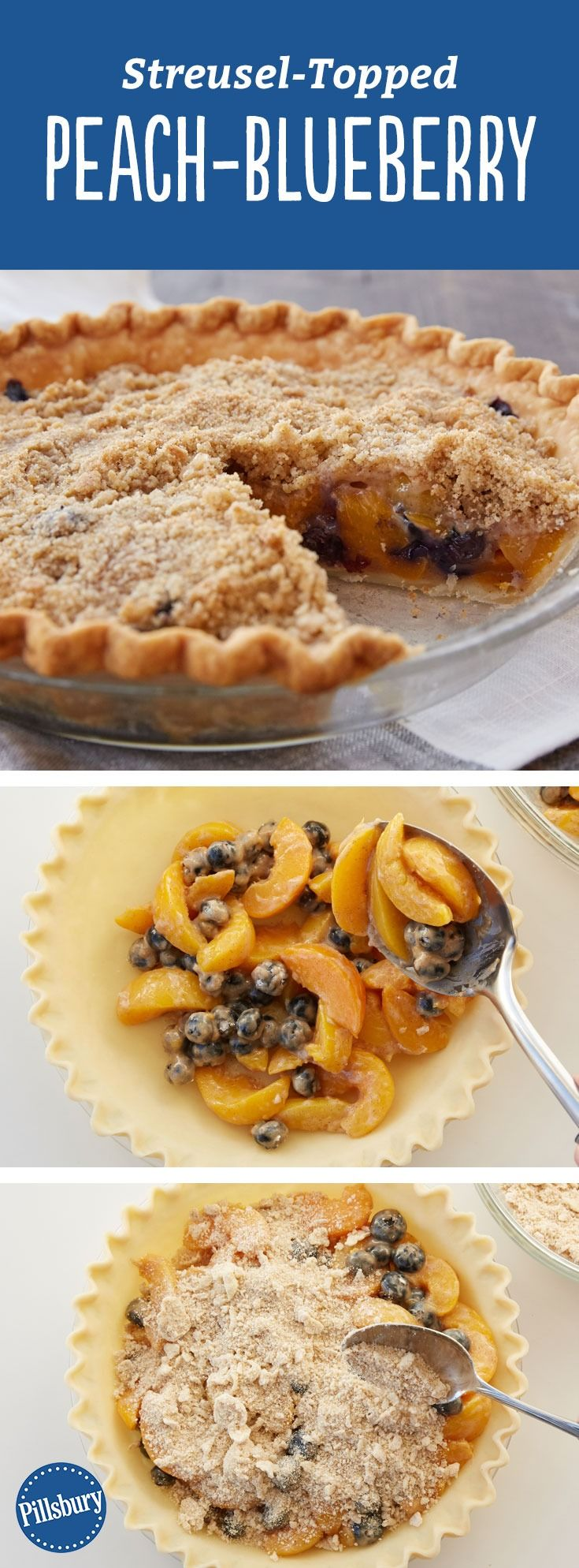 Streusel-Topped Peach-Blueberry Pie Recipe - Two favorite pie flavors in one crumble-topped pie? We're all about it.
