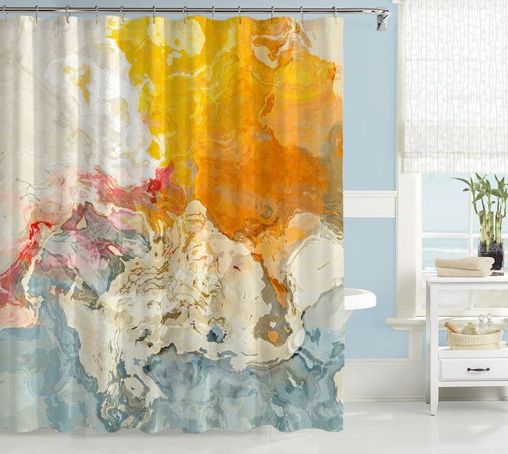 Abstract art shower curtain, in blue, orange and white, contemporary bathroom accessories, The Kiss