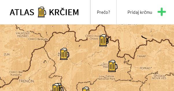 Interaktívna mapa slovenských krčiem