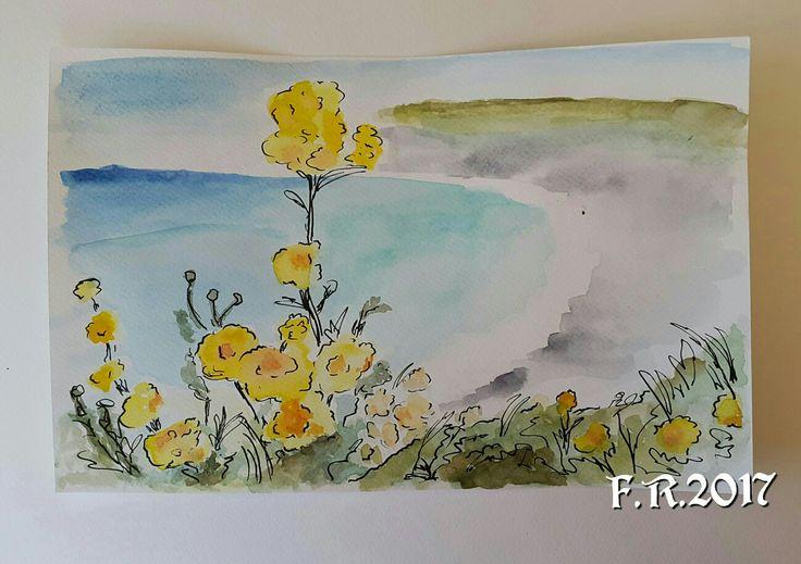 My Inspired Watercolor and Black Ink by Francesca Rocchi Cornwall Landscape - Acquerello ispirato raffigurante la costa della Cornovaglia di Francesca Rocchi