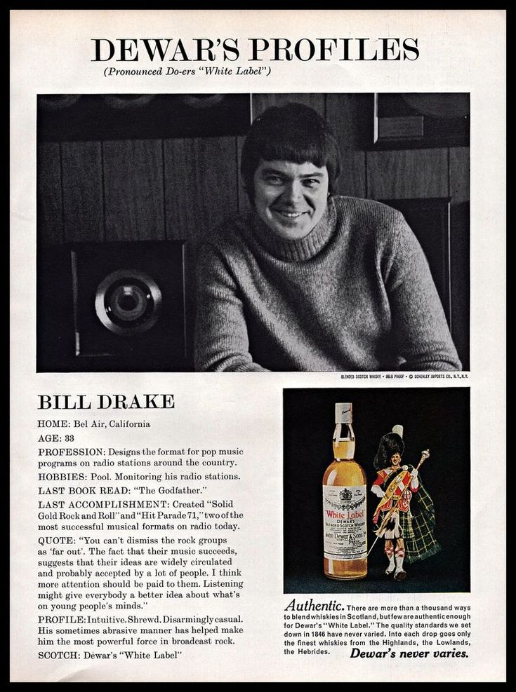 1971 Dewars White Label #Scotch #Whisky Bill Drake #Radio #1970s #Vintage Print #Ad #Dewars