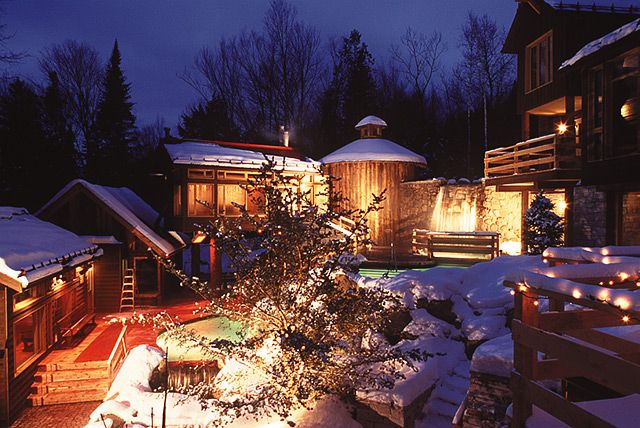 Mont Tremblant le Scandinave Spa.  Awesome! Did this tonight @Jenna Hardy @Sarah Hull