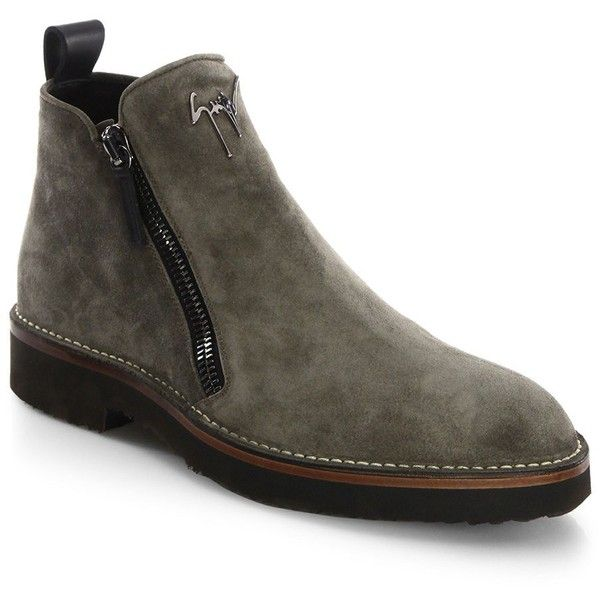 Giuseppe Zanotti Suede Double-Zip Boots ($895) ❤ liked on Polyvore featuring men's fashion, men's shoes, men's boots, mens ankle boots, mens shoes, mens short boots, mens round toe shoes and mens boots