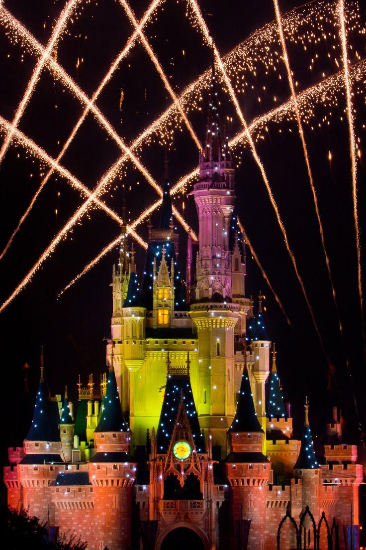 Disney world, Florida, Orlando, cinderella castle, fireworks, sparkle, night time, holiday, fairytale, walt disney.