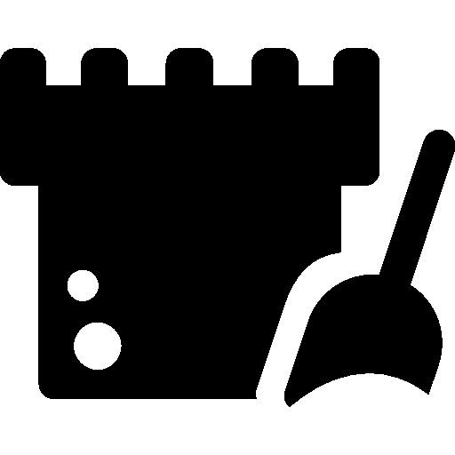 Sandcastle and beach shovel I Free Icon