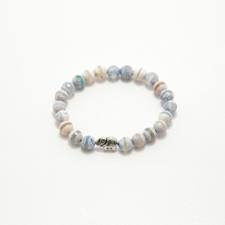 Dzi agate bracelet, agate bracelet, natural stone, semi precious stones, beaded bracelet, stone jewelry, agate jewelry, elephant bracelet by PastimeArt on Etsy