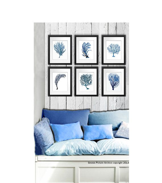 "Blue Coral wall art set of 6 prints bedroom living room bathroom beach cottage decor wall hanging art prints 8x10"" GnosisPictureArchive on Etsy, $44.00"