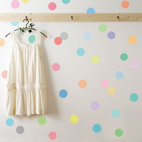 36 Sorbet Colored Confetti Polka Dot Wall Decals, Removable and Reusable