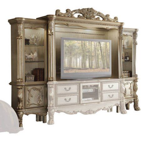 Acme Dresden Entertainment Center for TV up to 70″, Gold Patina & Bone
