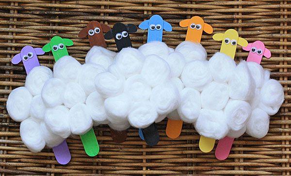 Lavoretto Bastoncini Legno Pecore