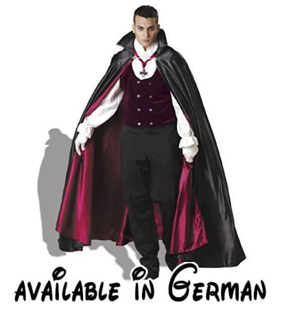 Gothic Vampir Kostüm für Erwachsene - Gr. XL. Velvet vest with attached shirt sleeves and scarf collar, full length lined satin cape, white gloves and medallion on ribbon. Pants not included. X-large fits chest 46-48 and waist 40-42. #Apparel #ADULT_COSTUME